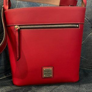 Donney & Bourke Large Beacon Saffiano red bucket drawstring bag NWOT